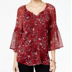 Style & CO Printed Peasant Blouse